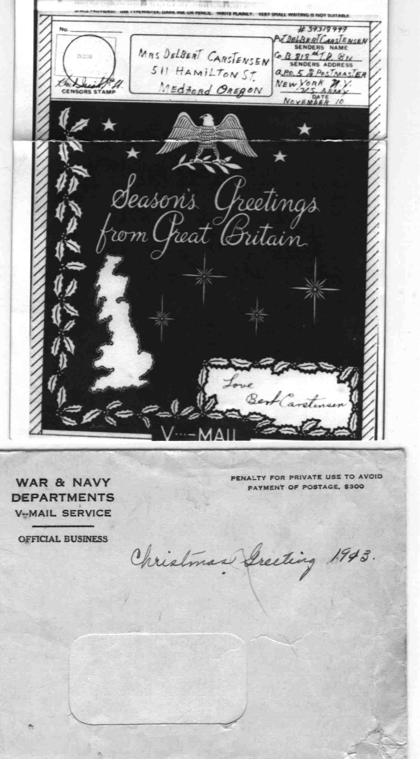Merry Christmas V-Mail From World War II